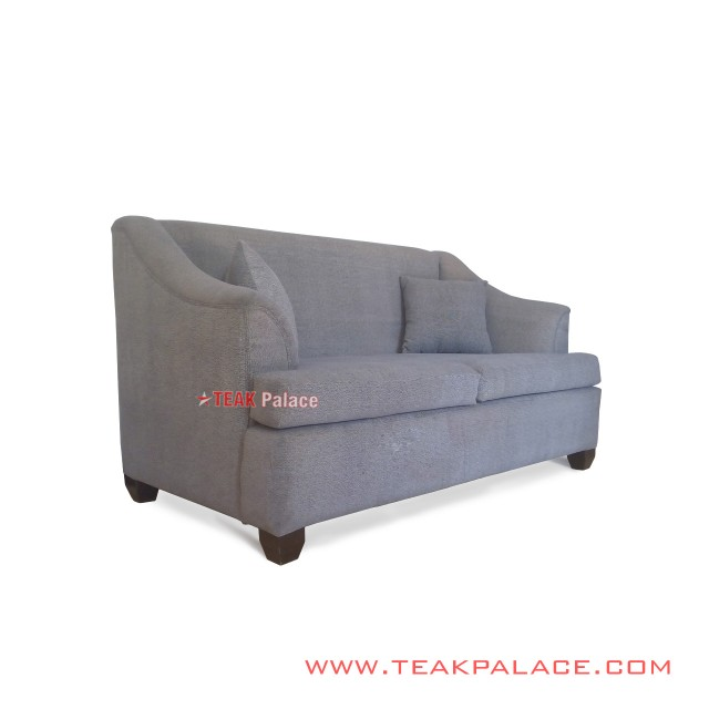 Sofa Musi 2 Seater Teak Wood Black Walnut Gray Fabric
