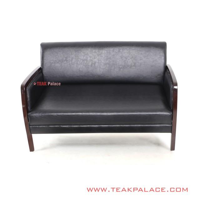 Guest Chair Black Leather Oscar 2 Seat Kuta Series