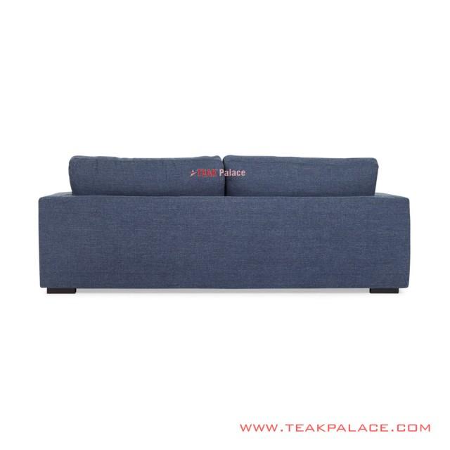 Sofa Tamu 2 seater Kayu Jati Hitam Rivoli Denim