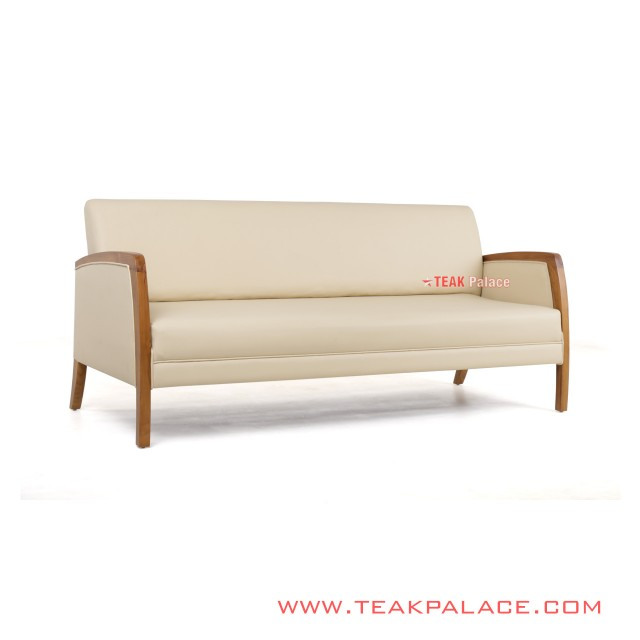 Sofa Chair Minimalist Teak 3 Seat Cream Kuta Series