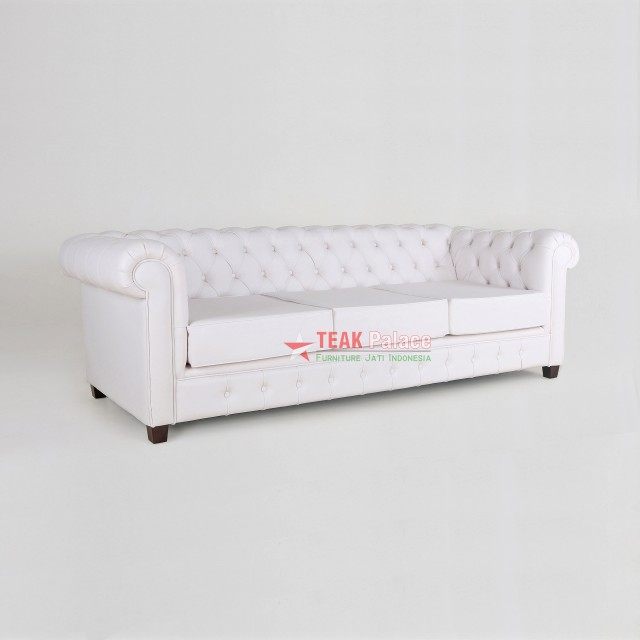 Chesterfield Sofa Leather Oscar White 3 Seat