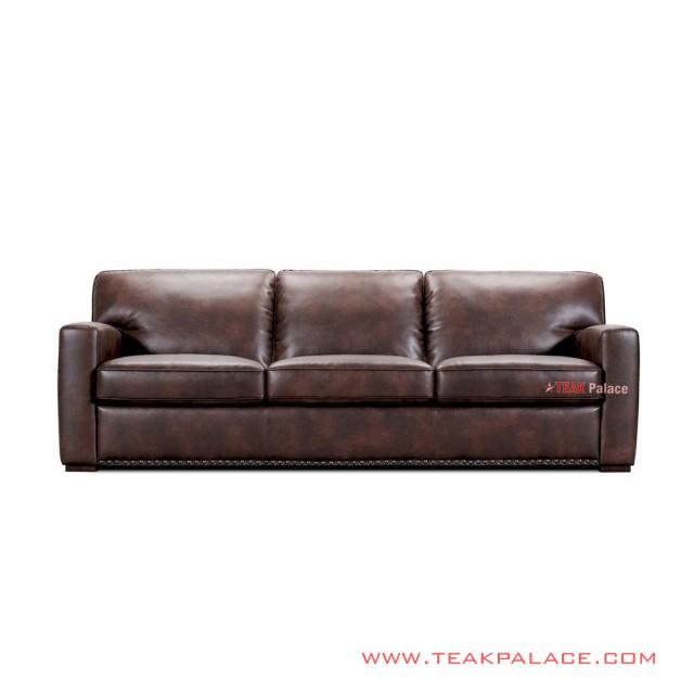 Hito Sofa Tamu Jati Minimalis Coklat 3 Seater