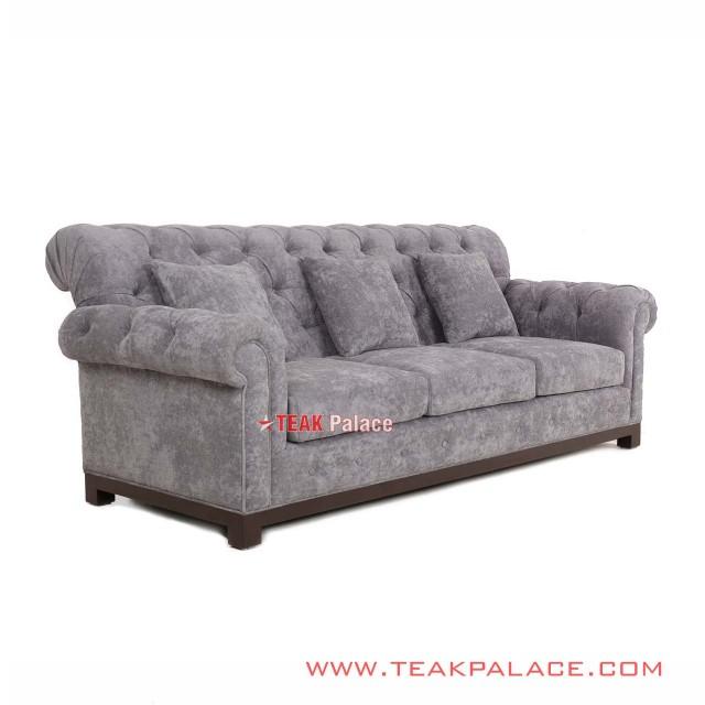Kursi Sofa Minimalis Ruang Tamu Mewah Robinson 3 Seater Abu-abu