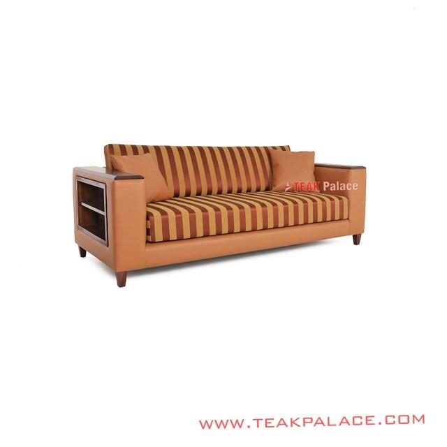 Sofa Vintage Minimalis 3 Dudukan Garis Orange