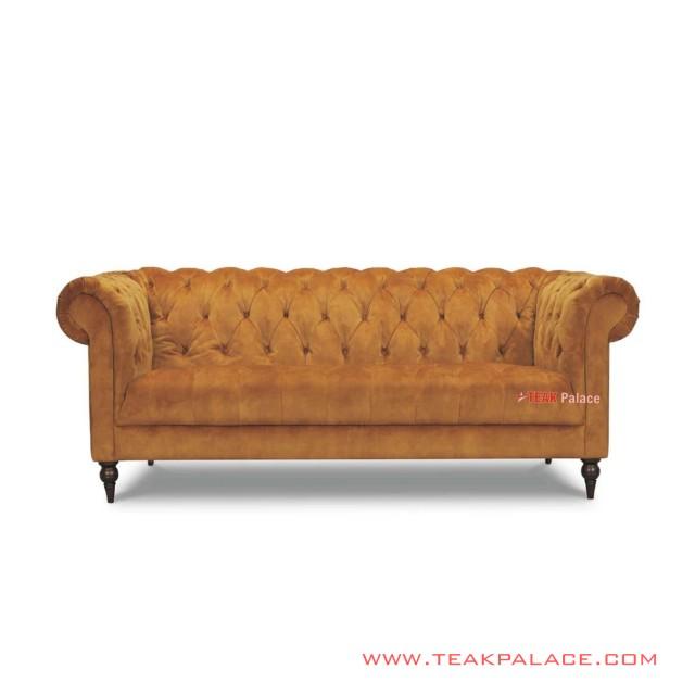Chesterfield Sofa 3 Seater Bludru Orange Minimalis