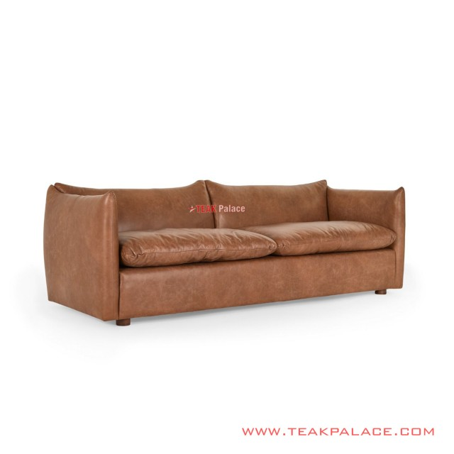 3 seat sofa Brown Leather Denise