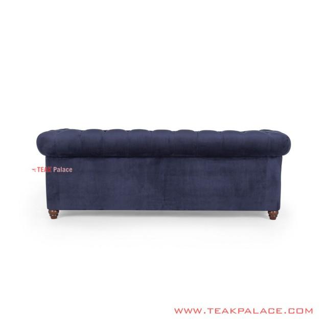 Sofa Chesterfield 3 Seater Jati Blackwalnut Biru Minimalis