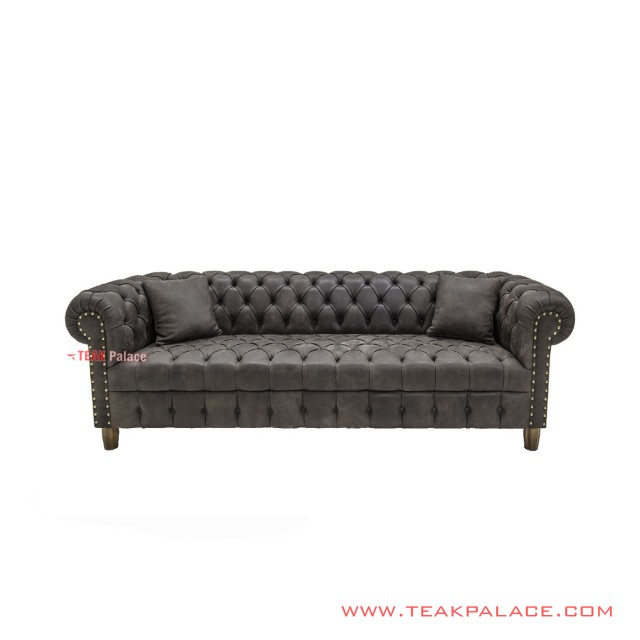 Sofa Chesterfield 3 Seater Minimalis Jati