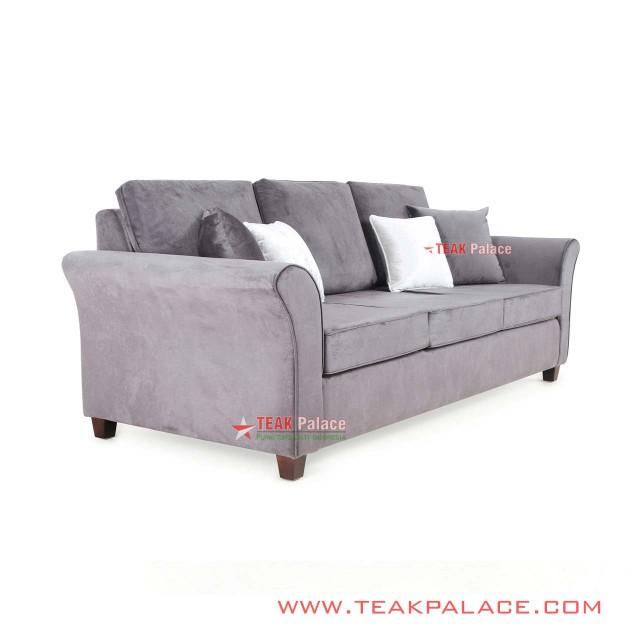 Sofa Kursi Tamu Minimalis Jati 3 Dudukan Seri Malang Grey
