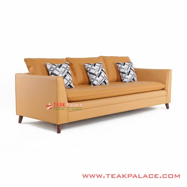Sofa Minimalis 3S Kulit Seri Vania Terracotta
