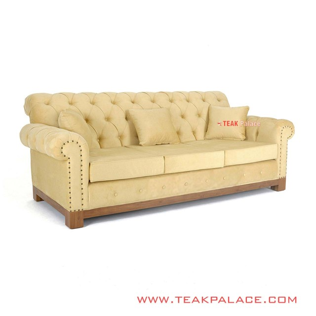 Sofa Minimalis Mewah 3 Dudukan Robinson Kuning