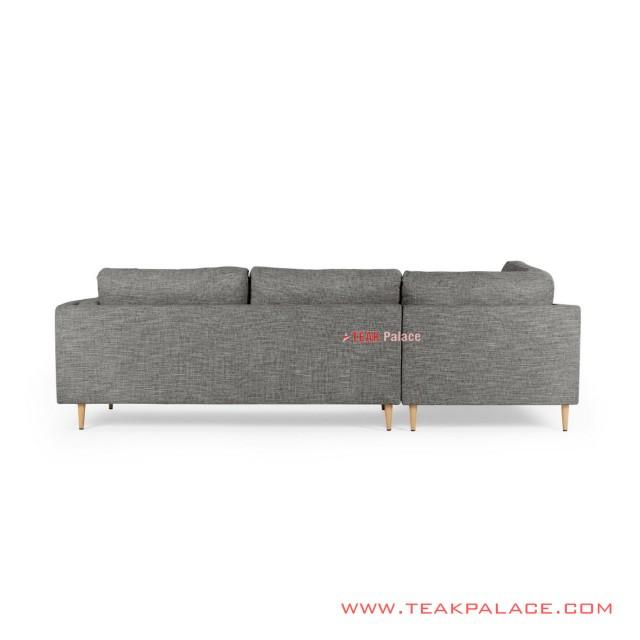 Corner Sofa Natural  Teak Wood  Revina Gray Ayudia Series