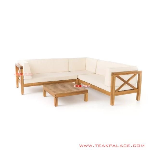 Sofa L Tamu Set Minimalis Natural Amara Beige