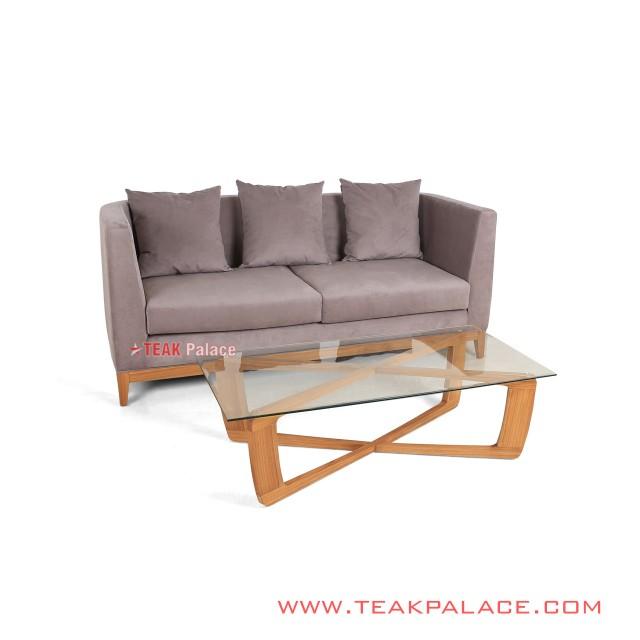 Sofa Santai Meja Tamu Kayu Jati Top Kaca Seri Kemang