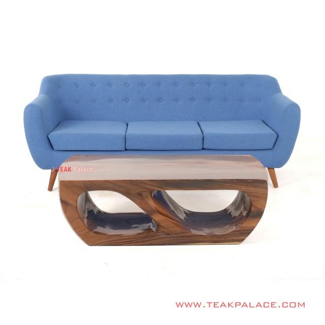 Sofa Minimalis Biru 3 dudukan Set Meja Tamu seri Dina