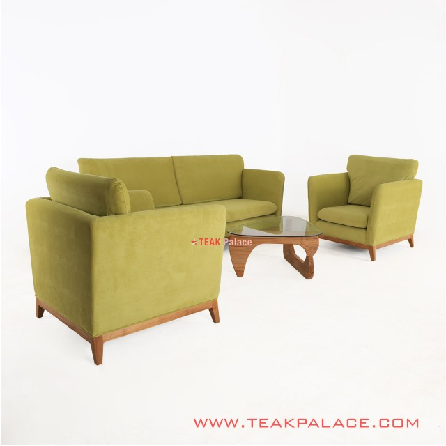 Kursi Sofa Tamu Set Hijau Muda Natural Gloss Seri Muara