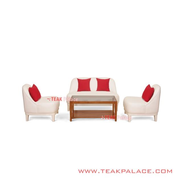Sofa Kursi Santai Kafe Kulit Putih Seri Lampung