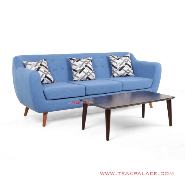 Dina Sofa 3 Seat Set Guest Table Blue Balck Walnut