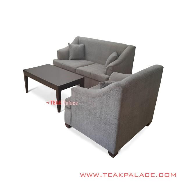 Set Sofa Ruang Tamu Seri Musi 21 Grey Meja Jati Black Walnut