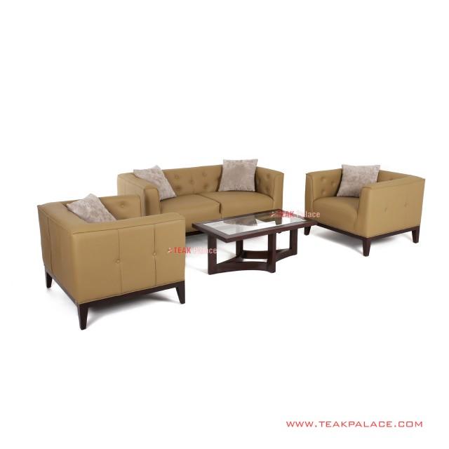 Sofa Tamu Minimalis 211 Kulit Coklat Seri Bekasi