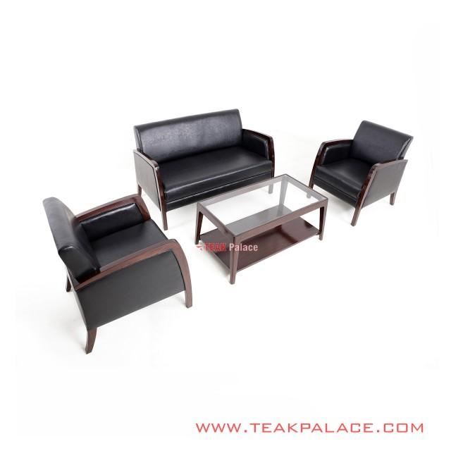 Set Kursi Sofa Minimalis 211 Kulit Hitam Seri Kuta