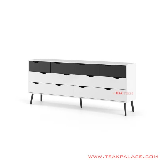 Drawer Buffet Minimalist Alena Duco White And Black