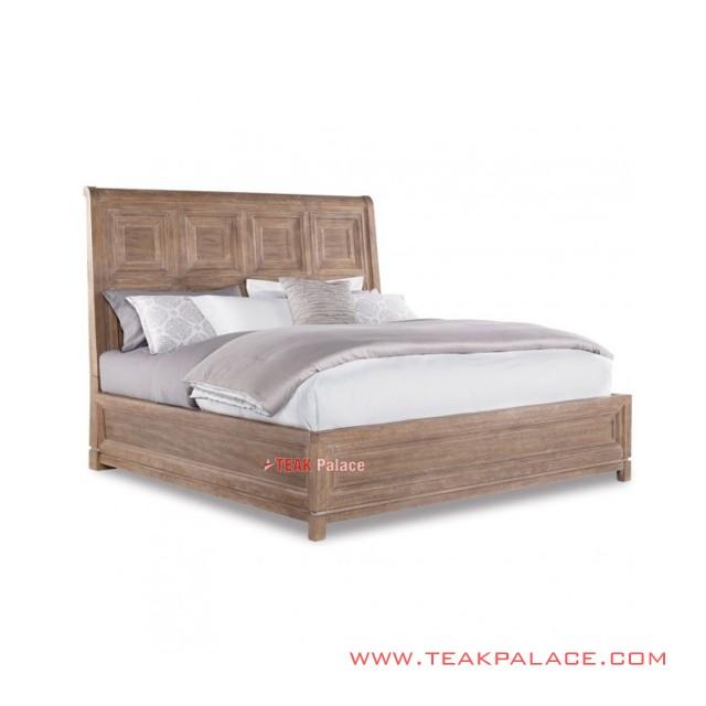 Bed Minimalist Antique Teak Wood White Wash Rustic Kuta Series