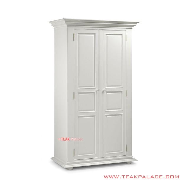 Lemari Pakaian Minimalis Kayu Jati 2 Pintu Putih Robinson