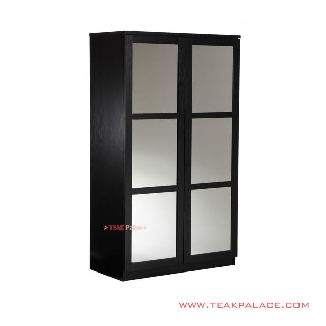Lemari Pakain 2 pintu Hitam Cermin Seri Bekasi