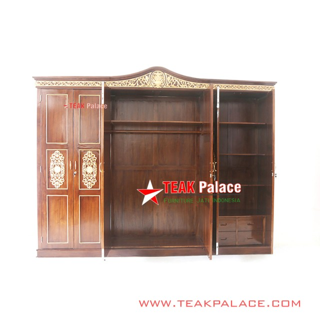 Wardrobe 6 Door Carving Teak Golden Padang