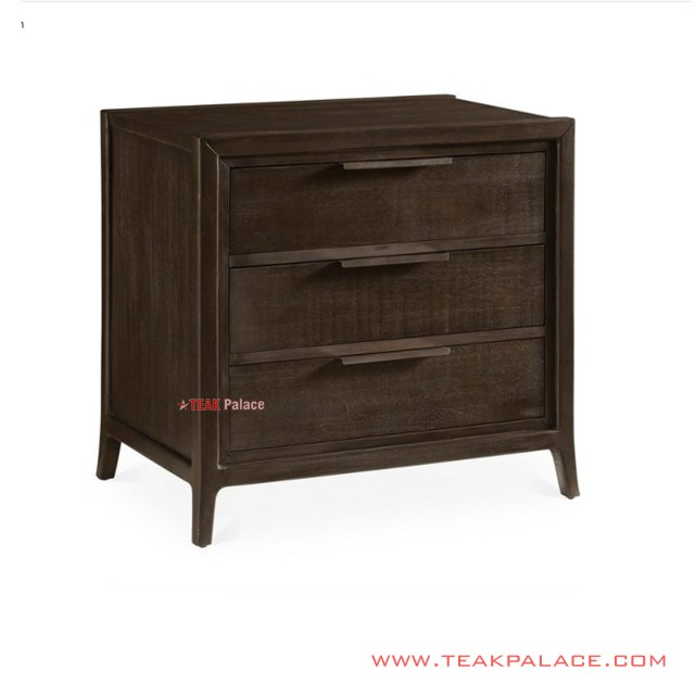 Black Walnut Marsa Nightstand Minimalist Solid Teak