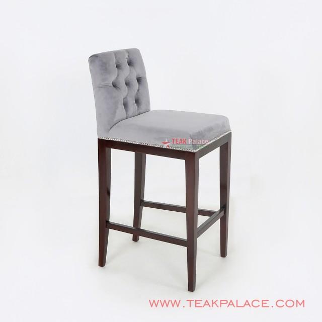 Minimalist Teak Bar Chair Bogor Series Gray
