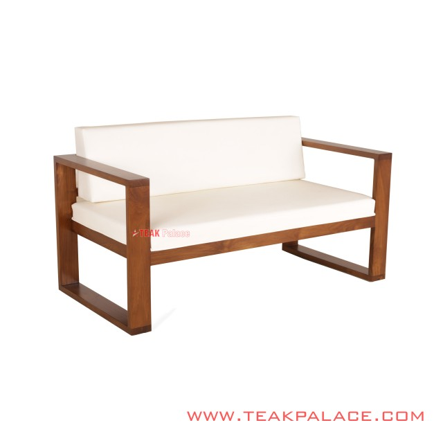 Kotak 2 Seater Teak Chair White
